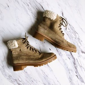 Zara Basic Beige Suede Combat Boots with Sherpa